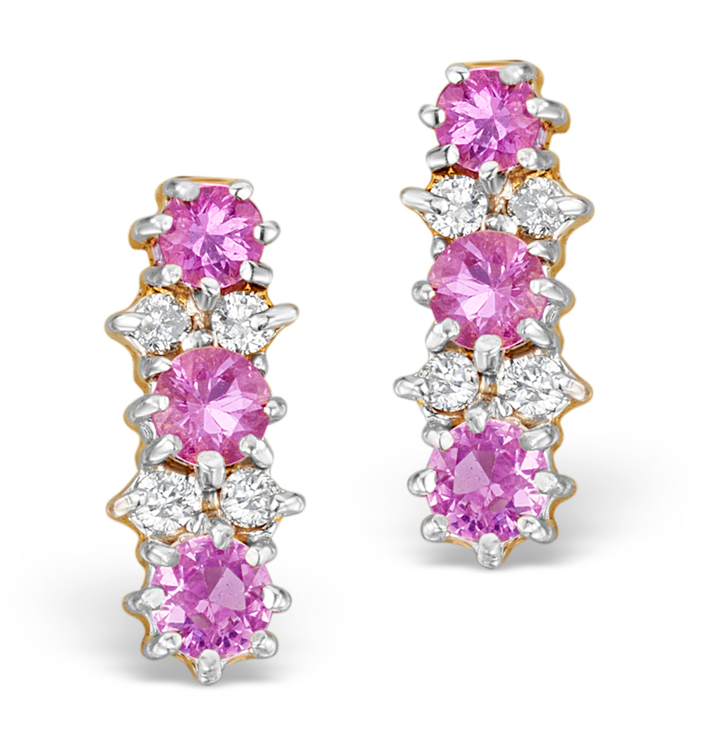0.12CT DIAMOND AND PINK SAPPHIRE EARRINGS IN 9K GOLD
