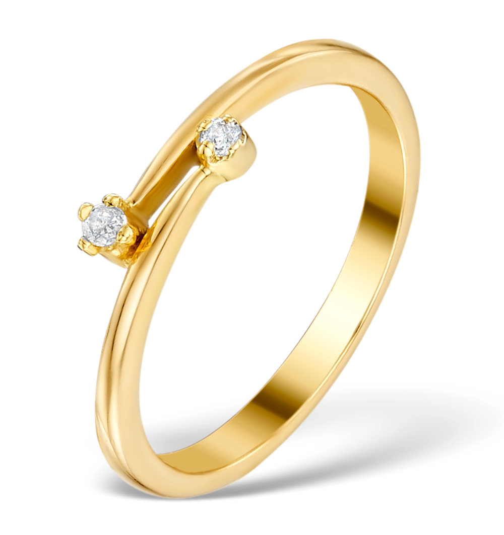 0.05CT DIAMOND CROSSOVER RING IN 9K GOLD