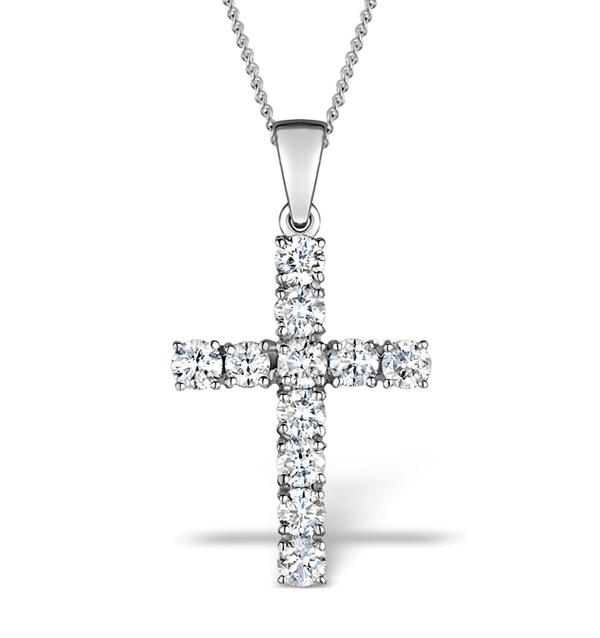 1.00CT DIAMOND AND 18K WHITE GOLD CROSS PENDANT - FR42
