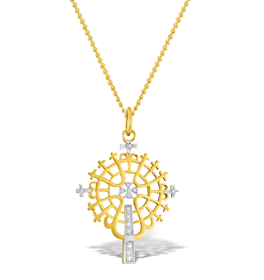 DIAMOND 0.07CT  AND 9K GOLD PENDANT - RTC-G3613