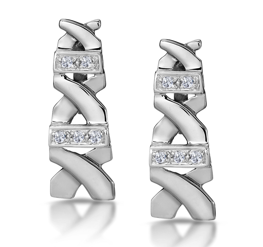 0.10CT DIAMOND PAVE KISSES EARRINGS IN 9K WHITE GOLD - RTC-H3882