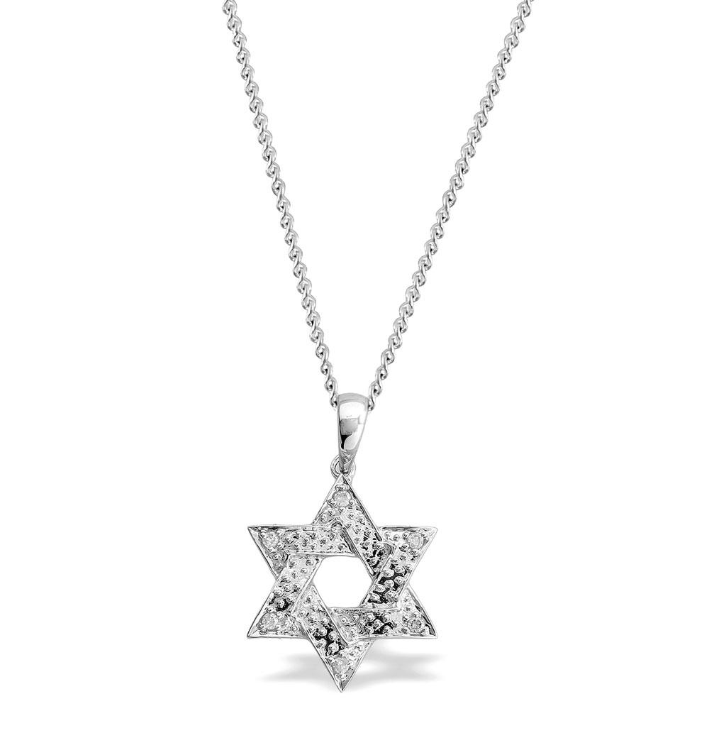 DIAMOND 0.06CT  AND 9K WHITE GOLD STAR OF DAVID PENDANT - RTC-G3054