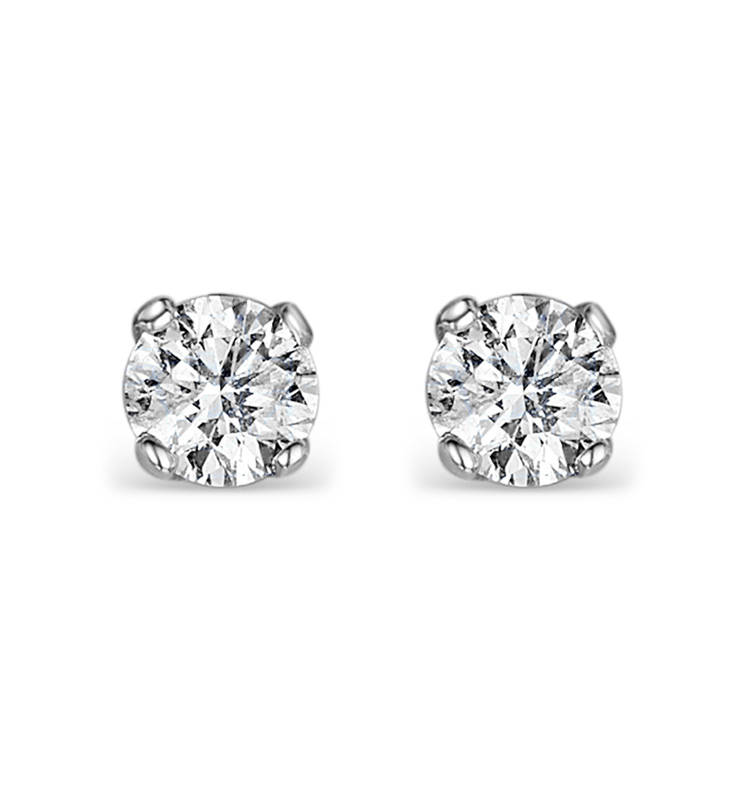 Diamond Earrings 0.40CT Studs H/SI Quality in 18K White Gold - 3.8mm