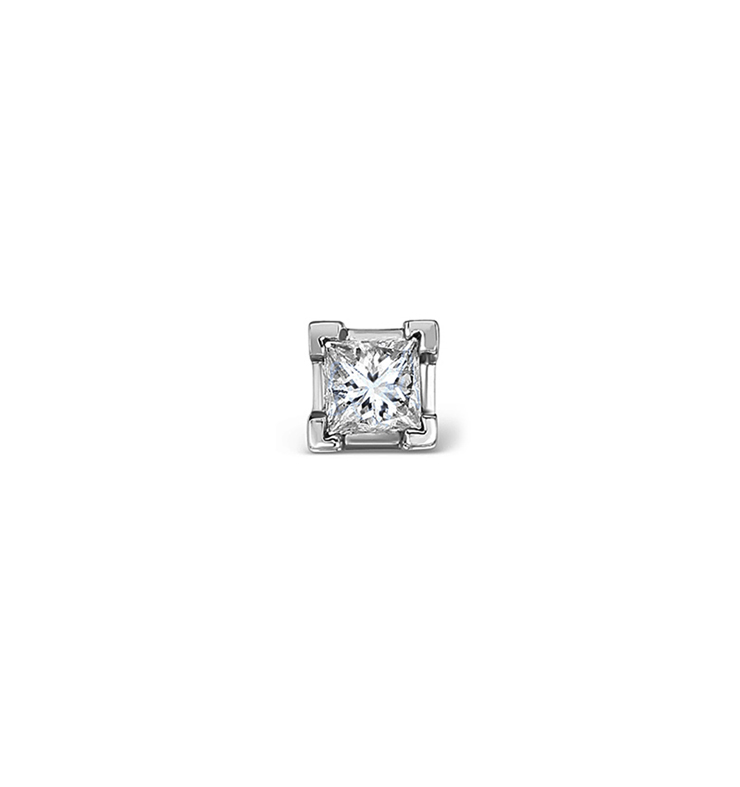 SINGLE STUD PRINCESS DIAMOND EARRING 0.15CT H/SI IN 18KW GOLD - 3MM