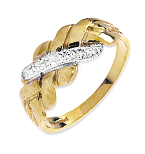 9K Gold Diamond Puzzle Style Ring