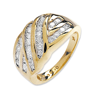9K Gold Diamond Channel Set Ring