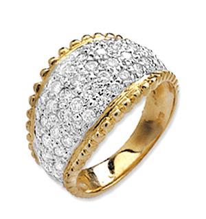 9K Gold Pave Diamond Ladies Rings (0.77ct)