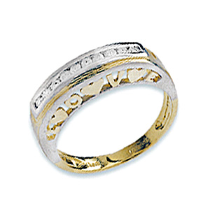 9K Gold Diamond Detail Love Heart Ring (0.20ct)