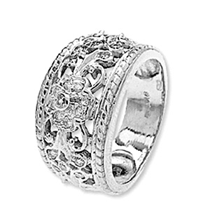 9K White Gold Diamond Detail Design Rings (0.25ct)