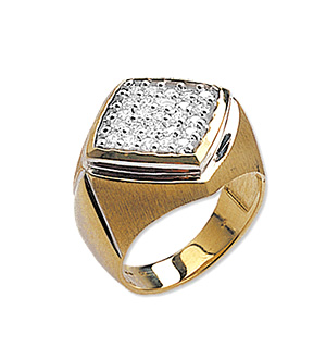 9K Gold Diamond Square Gents Rings (1.00ct)