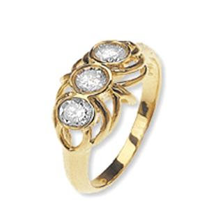 9K Gold Diamond Three Stone Ring (0.48ct)