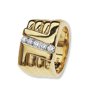 9K Gold Five Stone Diamond Gents Rings (0.25ct)