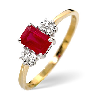 18K Gold Diamond and Ruby Ring 0.06ct