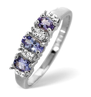 9K White Gold Diamond and Tanzanite Ring 0.05ct