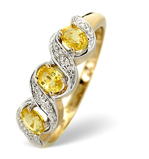 9K Gold Diamond and Yellow Sapphire Ring Twist