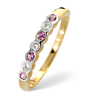 9K Gold Diamond and Pink Sapphire Rubover Ring