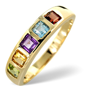 Multi Gem Ring Multi 9K Yellow Gold