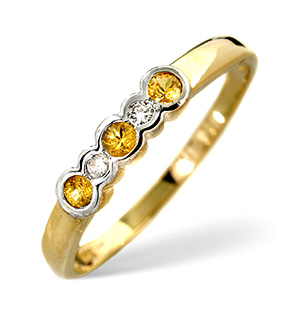 9K Gold Diamond and Yellow Sapphire Rubover Ring