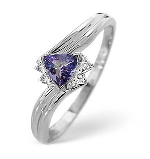 9K White Gold Diamond and Tanzanite Ring 0.02ct