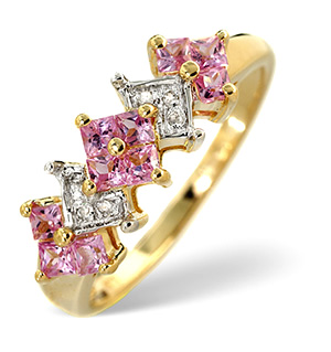 9K Gold Diamond and Pink Sapphire Boat Ring