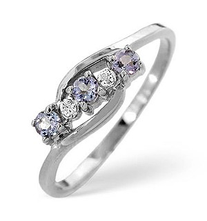 9K White Gold Diamond and Tanzanite Ring 0.01ct