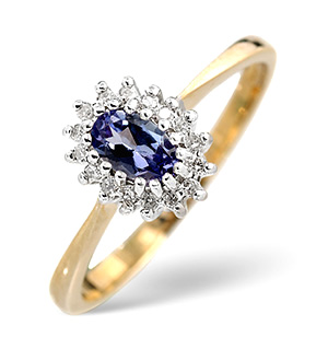 18K Gold Diamond and Tanzanite Ring 0.05ct