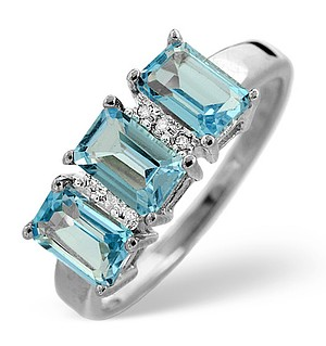 9K White Gold Diamond and Blue Topaz Ring 0.02ct