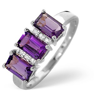 9K White Gold Diamond and Amethyst Ring 0.02ct