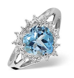 9K White Gold Diamond and Blue Topaz Ring 0.01ct