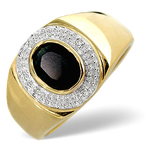 Sapphire 1.60CT And Diamond 9K Yellow Gold Mens Ring