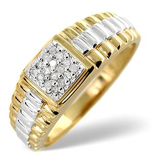 Mens Ring 0.11CT Diamond 9K Gold