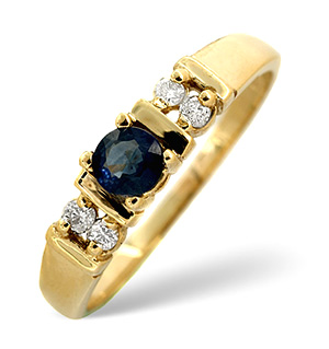 18K Gold Diamond and Kanchan Sapphire Ring 0.10ct