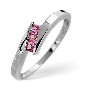 9K White Gold Diamond and Pink Sapphire Ring 0.20ct