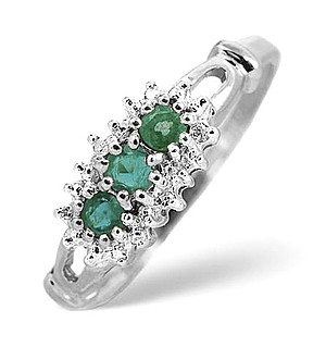 9K White Gold Diamond and Emerald ring 002ct