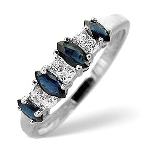 9K White Gold Diamond and Sapphire Ring 0.02ct