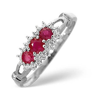 9K White Gold Diamond and Ruby Ring 0.02ct