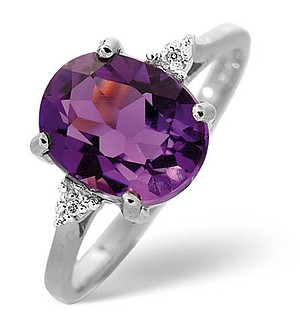 9K White Gold Diamond and Amethyst Ring 0.01ct