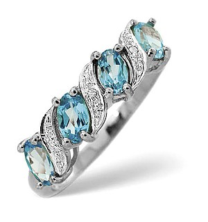 9K White Gold Diamond and Blue Topaz Ring 0.01ct