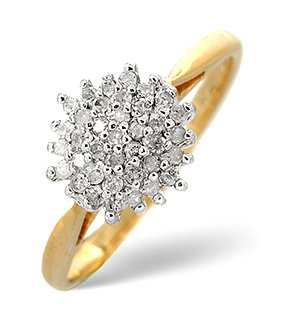 Cluster Ring 0.25CT Diamond 9K Yellow Gold