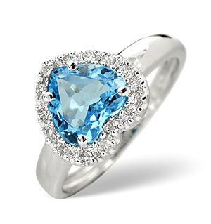 18K White Gold Diamond and Blue Topaz Ring