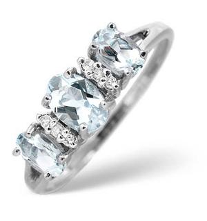 9K White Gold Diamond and Aqua Marine Ring 0.03ct