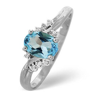 9K White Gold Diamond and Blue Topaz Ring 0.03ct