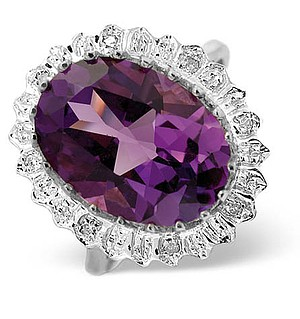 9K White Gold Diamond and Amethyst Ring 0.04ct