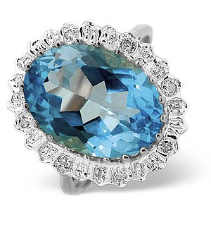 9K White Gold Diamond and Blue Topaz Ring 0.04ct