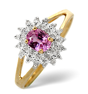 Pink Sapphire And 0.12CT Diamond Ring 9K Yellow Gold