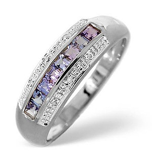 9K White Gold Diamond and Tanzanite Ring 0.19ct