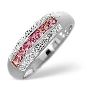 9K White Gold Diamond and Pink Sapphire Ring 0.19ct