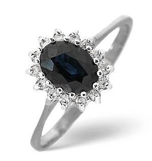 9K White Gold Diamond and Sapphire Ring 0.14ct