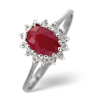 9K White Gold Diamond and Ruby Ring 0.14ct