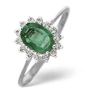 9K White Gold Diamond and Emerald ring 0.14ct